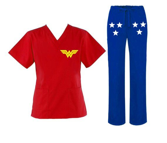 Wonder Woman Scrub Set with Matching Pants