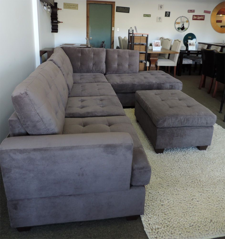 Wonderful Poundex F7137 Grey Suede Sectional Sofa Couch