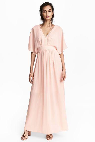 Robe Longue En Mousseline Rose Poudre Femme H M Fr Mariage