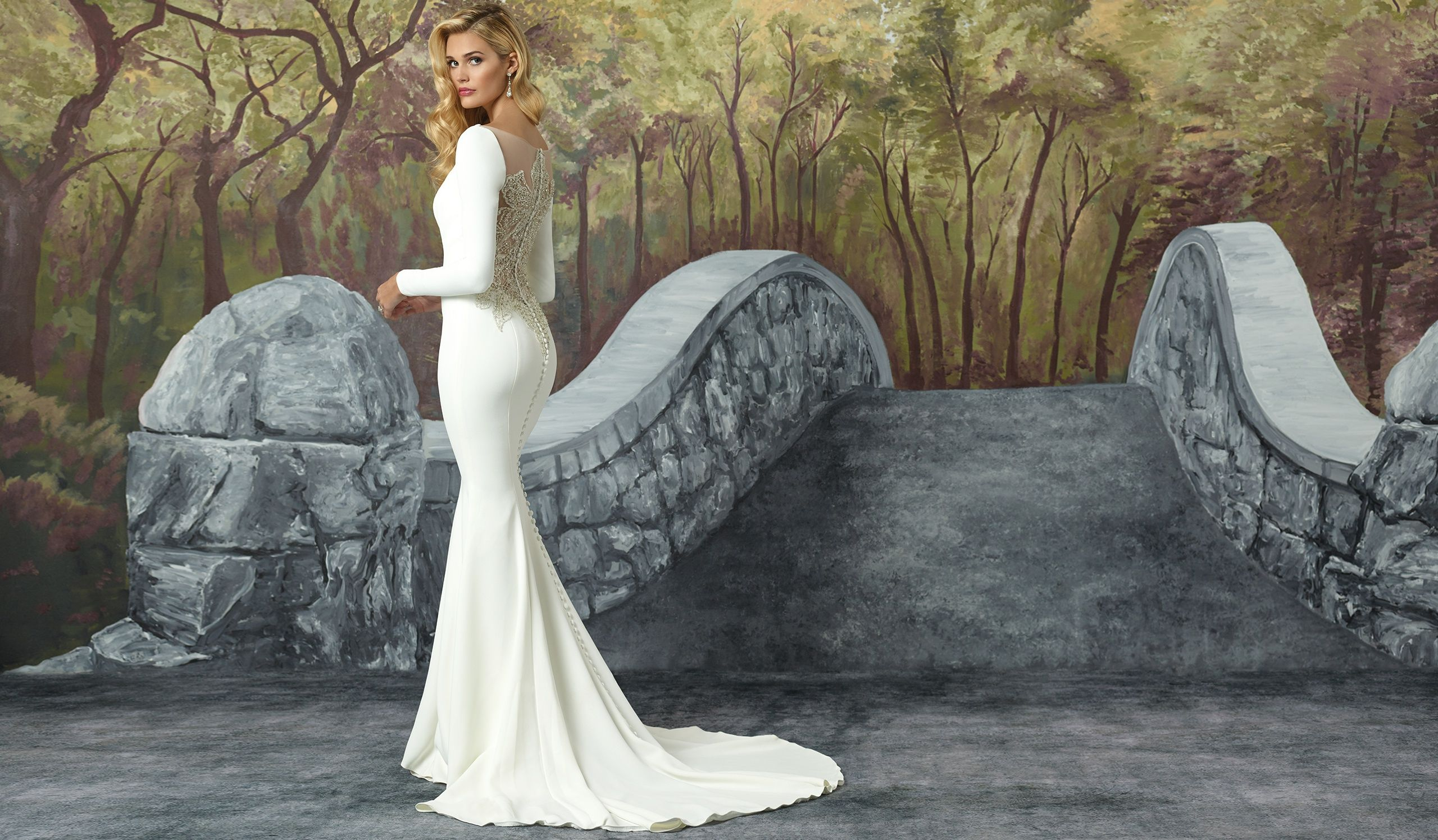7a651a58547 Style 8936  Crepe Long Sleeved Wedding Dress with Beaded Illusion Back