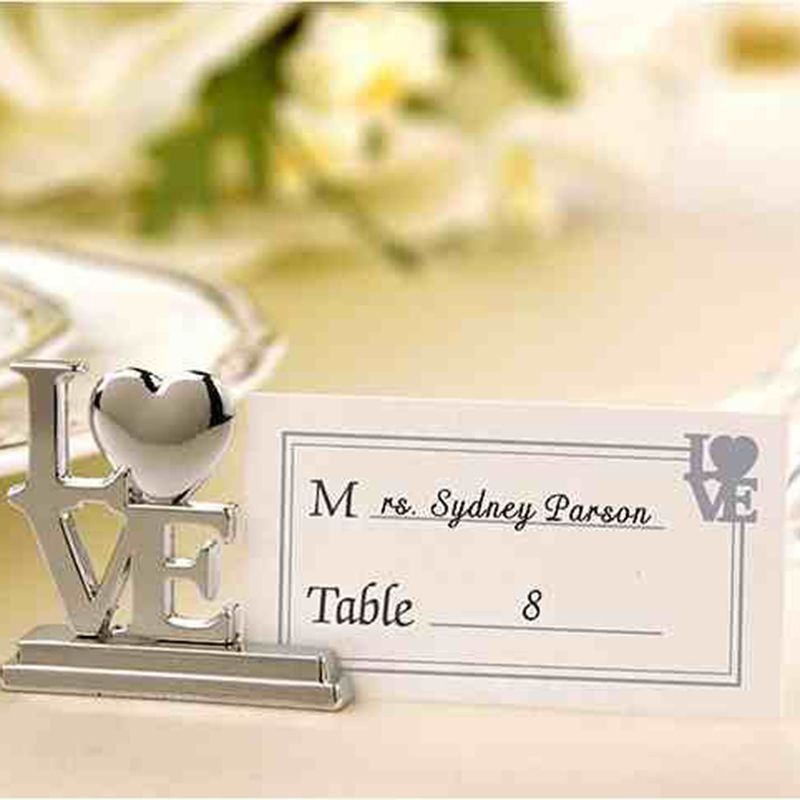 Dinner Party Name Ideas Part - 24: 12 Pcs/Lot Silver Love Place Table Card Holder For Wedding Favor / Dinner  Party