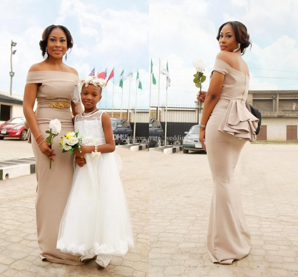52a9443ed63 2018 Newest Champagne Satin Mermaid Bridesmaid Dresses Bateau Crystal Aso  Ebi Style Wedding Guest Dresses African Nigerian Maid Of Honor Affordable  ...