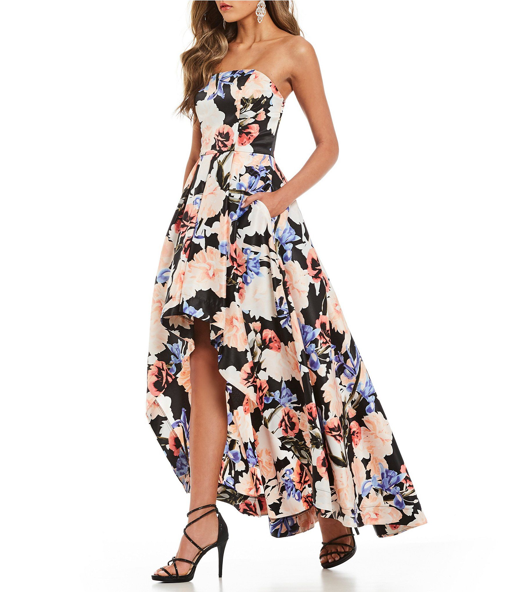 Xtraordinary Floral Print Long High-Low Dress #Dillards  Floral