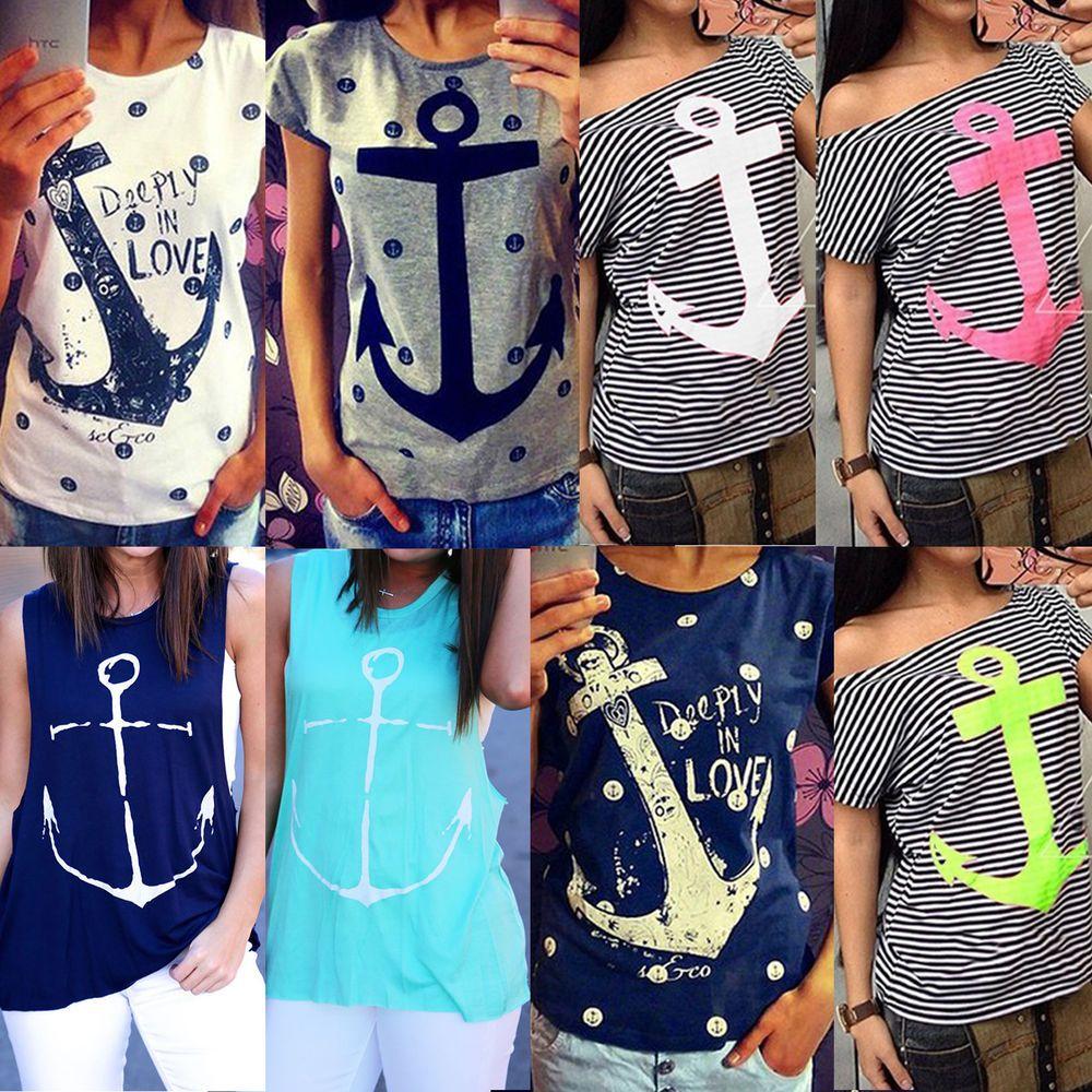 4923434e5 Women Anchor Nautical Boat Vest Top Fashion T Shirt Blouse Loose Tank  Sleeveless