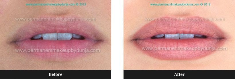 lip liner tattoo before and after