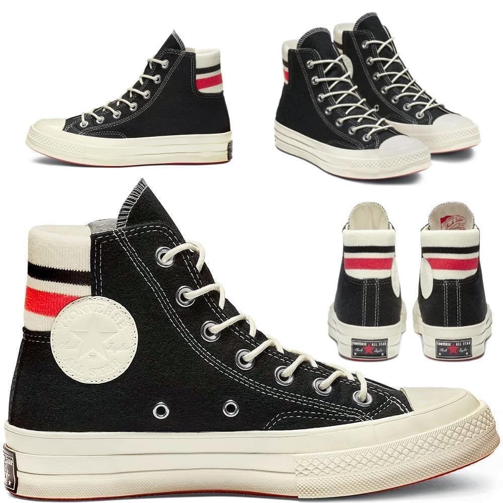 80fbdc6616b3 CONVERSE ORIGINAL CT HI 1970s RETRO STRIP - BLACK SEDONA.RED EGRET (WOOL)