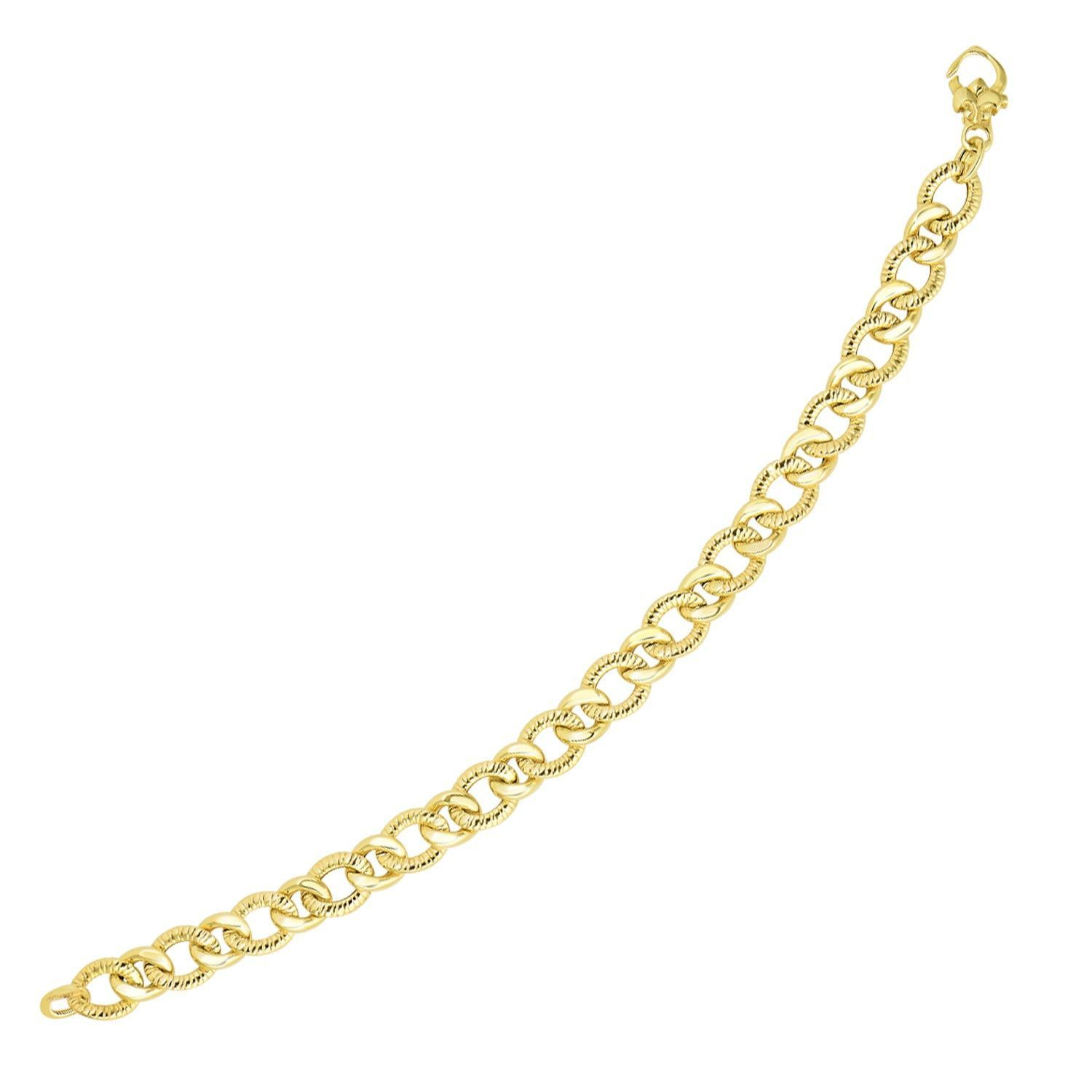 K yellow gold curb chain design with diamond cuts bracelet