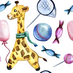 Watercolor hand drawn seamless pattern on a children¡¯s theme with giraffe, ball, balloon, butterfly net and candies on a mint background. Cute pattern for children¡¯s goods and decor for playroom. , #AFFILIATE, #theme, #children, #ball, #giraffe, #pattern #Ad #giraffepattern