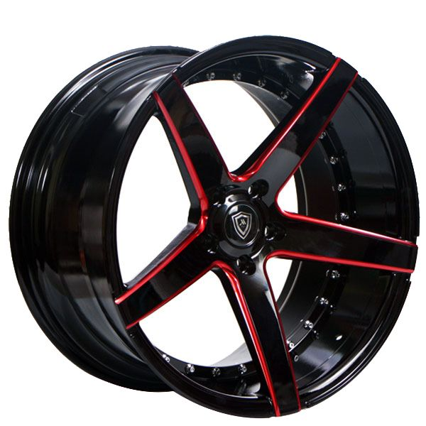 22 Quot Staggered Marquee Wheels M3226 Gloss Black With Red