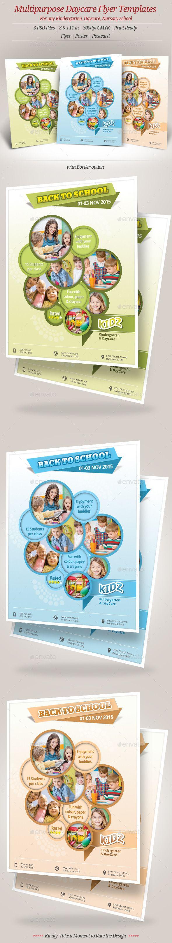 Multipurpose Daycare Flyer Templates. For Kindergarten, Daycare, Preschool  That Needs Clean, Professional, Modern Template Design.