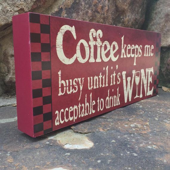 Wood block typography art coffee keeps me busy coffee wood for Kitchen quote signs
