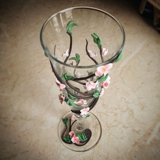 Декор бокала полимерной глиной