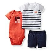 Carter's Baby Boys' 3-Piece Bodysuit, Tee & Shorts Set