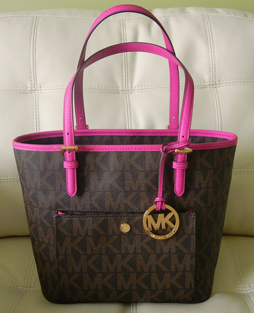 5da5d1edd231 New Michael Kors Jet Set Item Medium Snap Pocket Tote Brown Fuschia Pink   MichaelKors  TotesShoppers