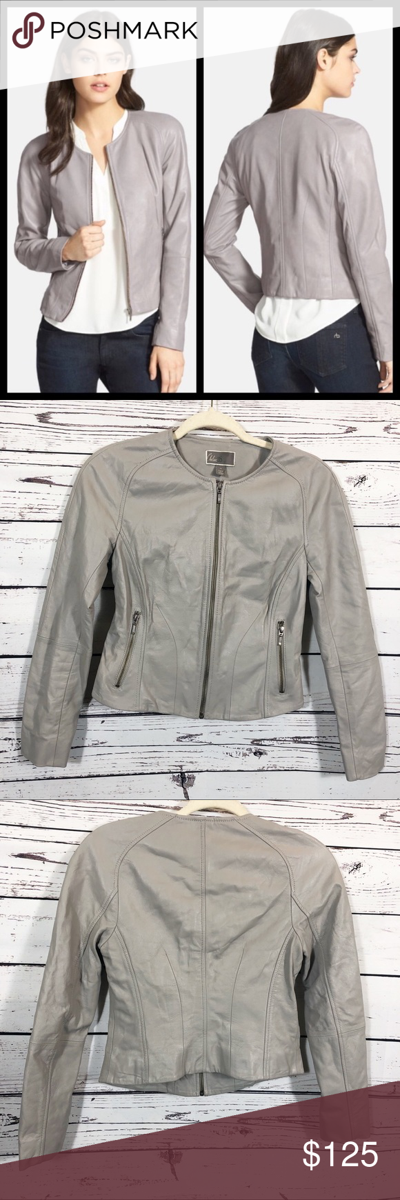 Chelsea28 Leather Moto Jacket Grey Euc Chelsea28 Genuine Leather Moto Jacket Grey Front Zippered Pockets Excellen Leather Moto Jacket Chelsea28 Moto Jacket [ 1740 x 580 Pixel ]