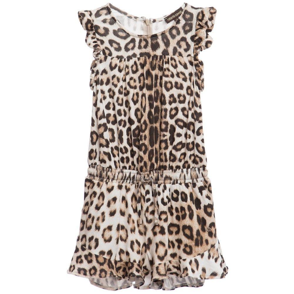 df9db6c0ff Roberto Cavalli Girls  Brown Leopard  Print Jersey Playsuit at  Childrensalon.com