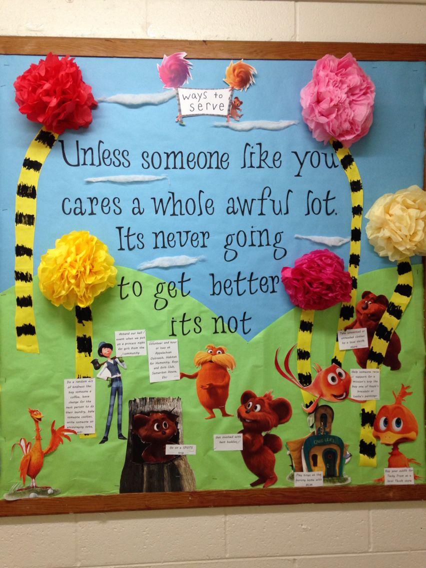 Lorax Classroom Decor ~ Lorax bulletin board seuss waystoserve reslife bout