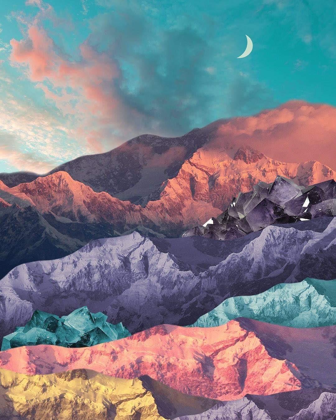 Moon Mountains Collage Collageart Collageartist Art Arte Vintage Landscape Mountains Karenlynch Collage Landscape Mountain Art Print Nature Collage