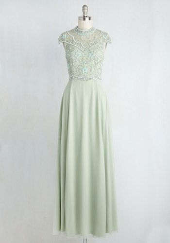 1c970145a822 Sequins of Events Maxi Dress - Green, Solid, Beads, Special Occasion,  A-line, Maxi, Short Sleeves, Woven, Exceptional, Crew, Long, Summer,  Homecoming