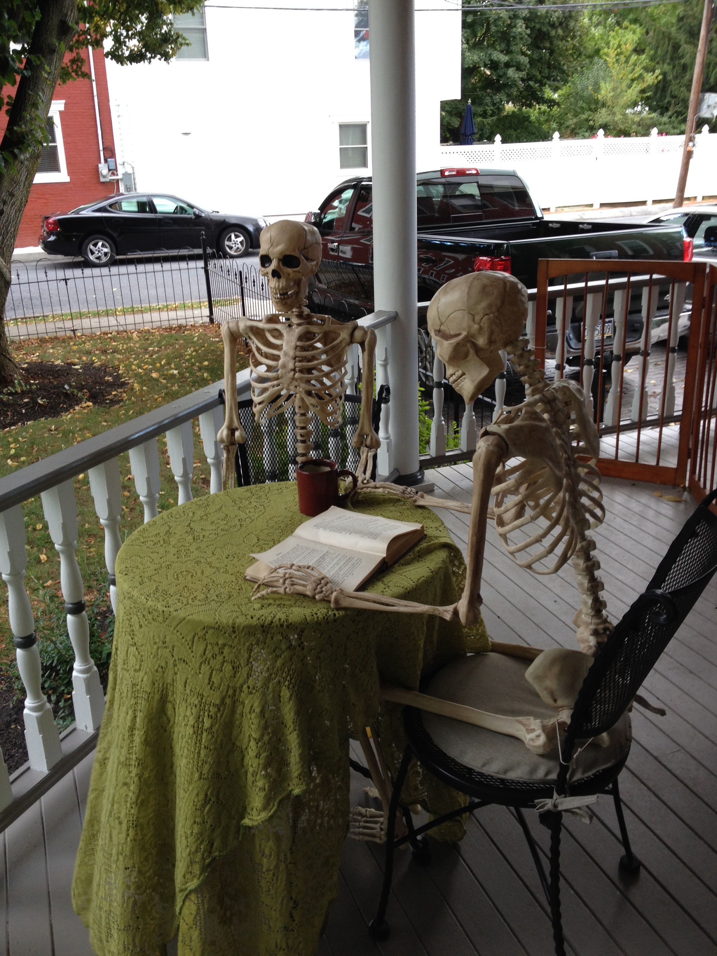 Our Yearly Halloween Guests Enjoy The Porch Of Our Dead