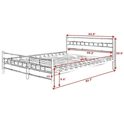 Best Nooshi White Queen Size Wood Slats Bed Frame Platform 640 x 480
