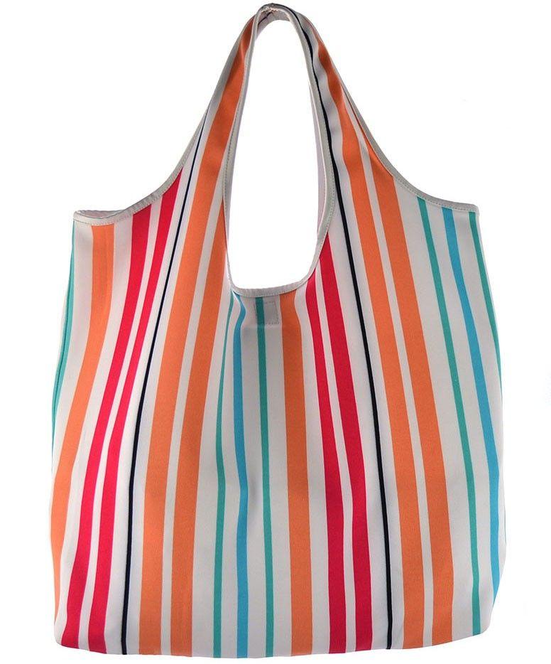 5f96eff61 Bolsa Fitness com estampa neoprene em listras rosa, salmão, verde e azul.  Este modelo de bolsa é ideal para academia, praia e final de semana.