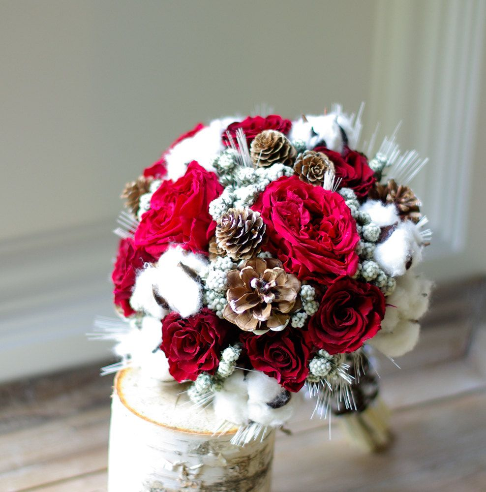 Wed In Winter Dried Flower Bouquet Preserved Red Roses Cotton Pinecones Wedding Flowers Wheat Bridesmaids