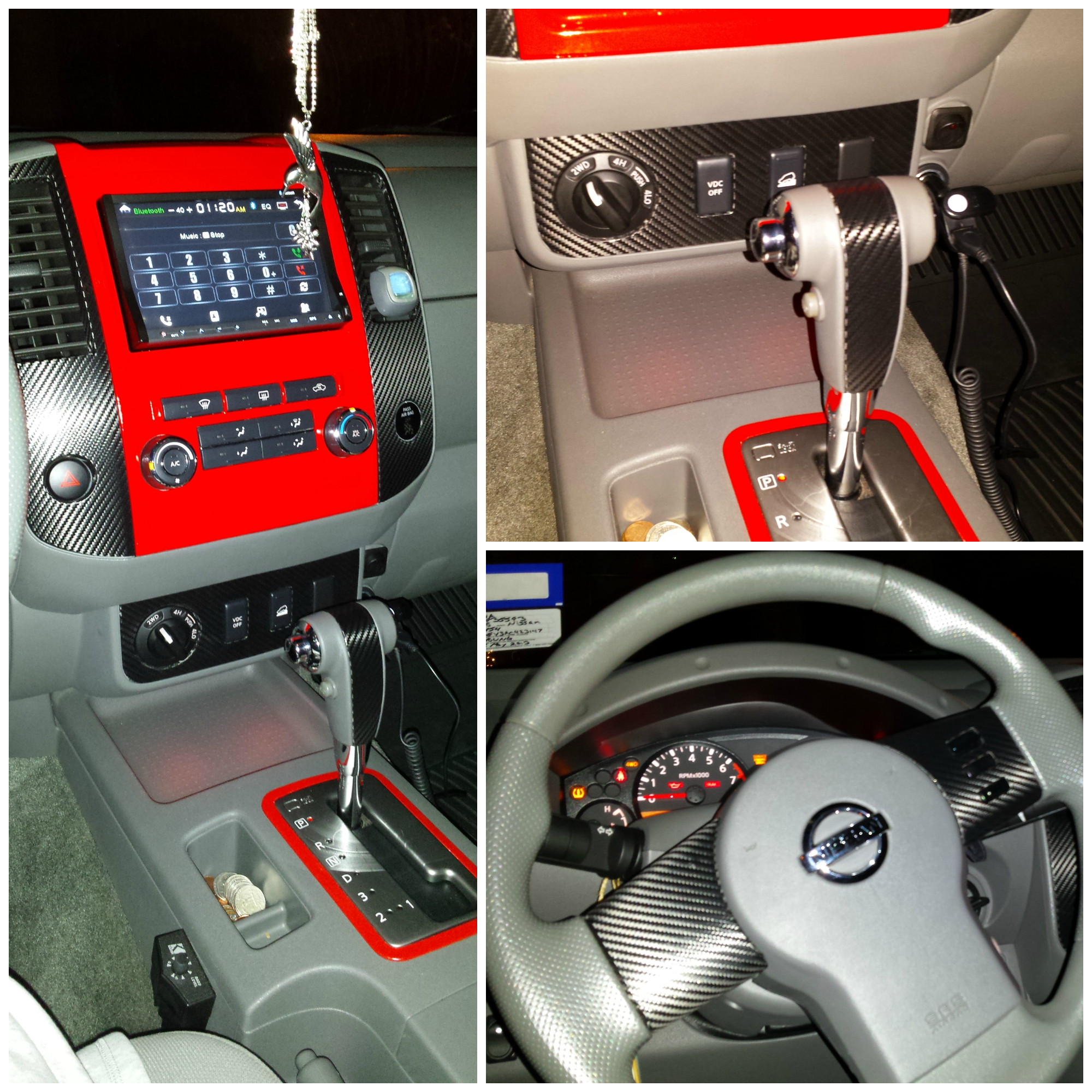 Red Painted Interior With Carbon Fiber Vinyl Accents In My 2010 Nissan Frontier Ginger