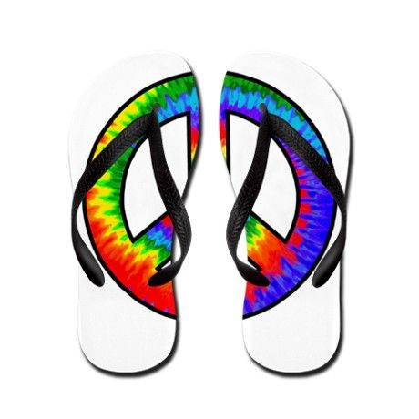 c125462e8 Tie Dye Rainbow Peace Sign Flip Flops