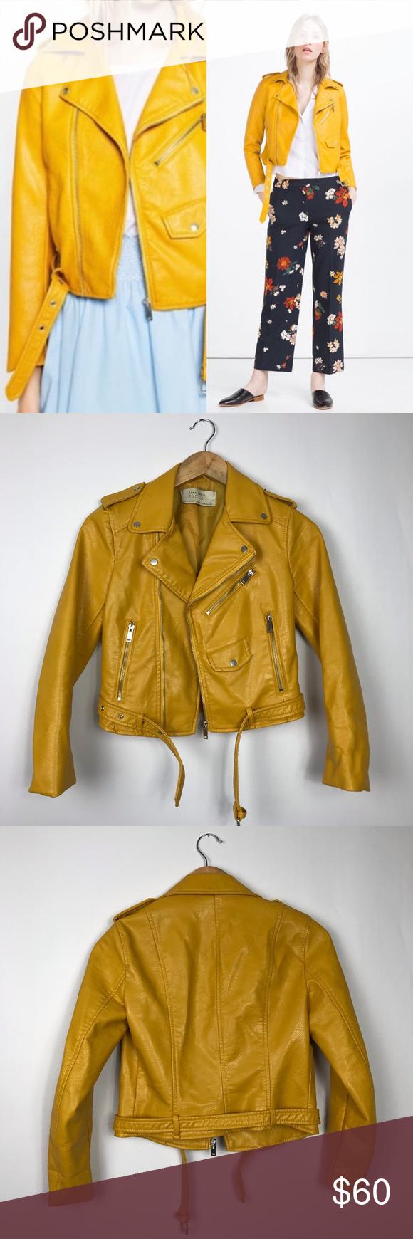 Zara yellow faux leather moto jacket Faux leather moto