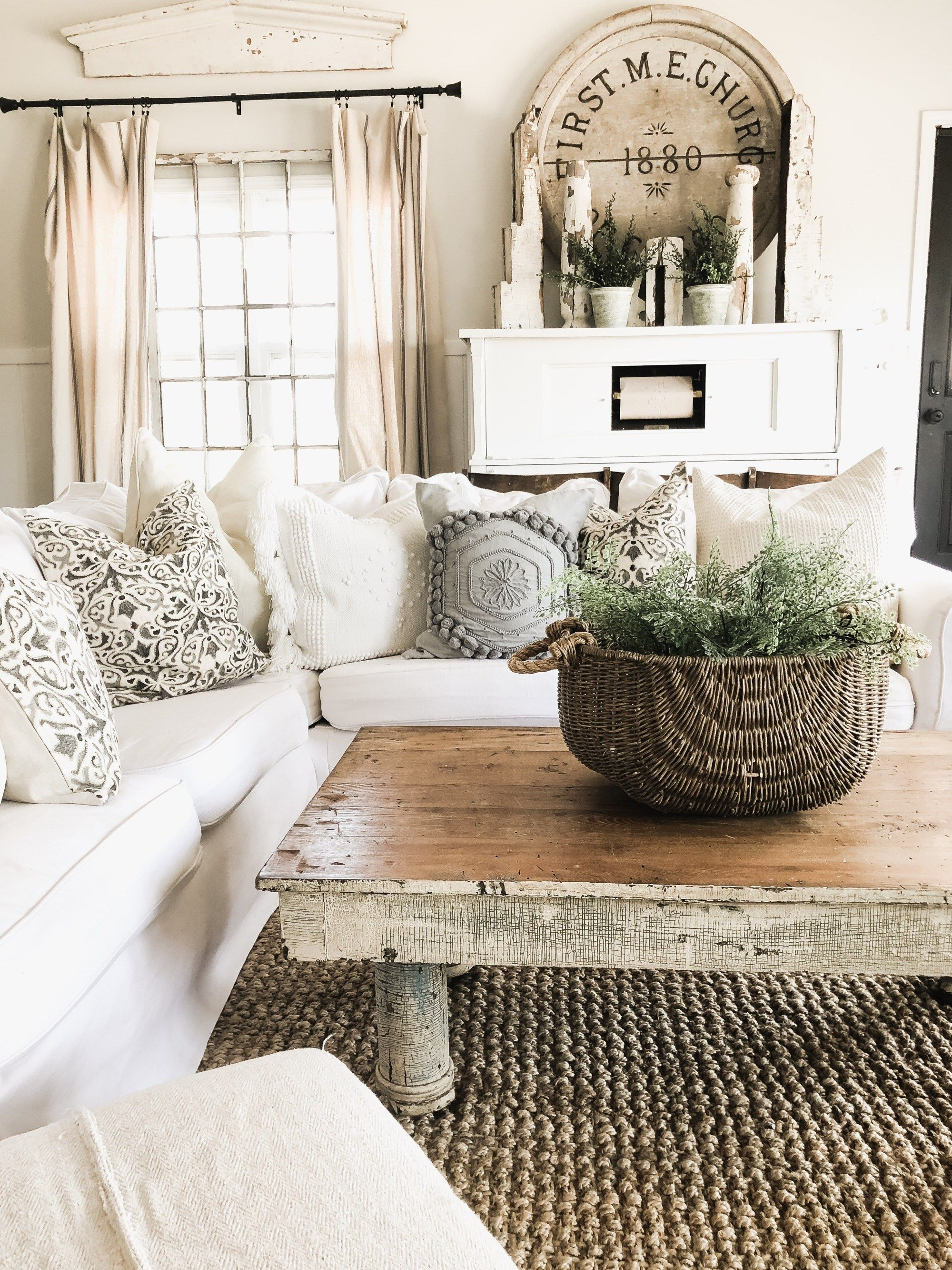 Diy Greenery Basket Decor Living Room Decor Rustic Farmh