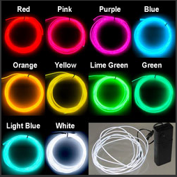 Neon Glowing Strobing EL Wire 9-Foot Kit Electroluminescent Tron ...