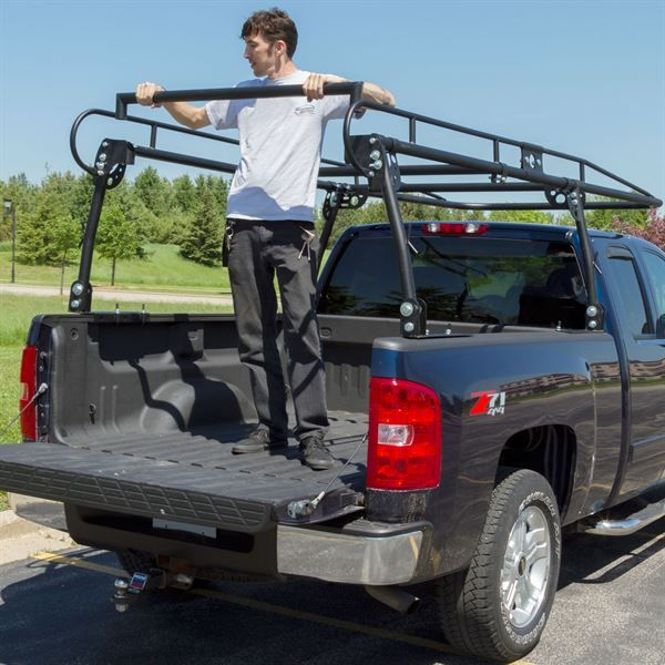 Rear view of universal truck rack installed to pickup