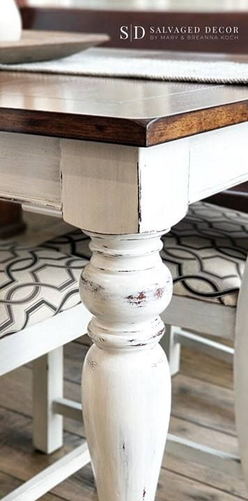 Before & After - Farmhouse Dining Table Makeover using Miss Mustard Seed's Milk Paint | Salvaged Decor -   19 farmhouse kitchen table decorations ideas