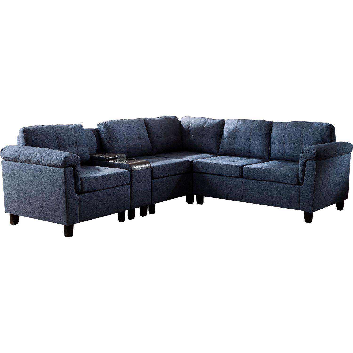 Prime Cleavon Sectional Sofa W Console In Blue Linen Espresso Alphanode Cool Chair Designs And Ideas Alphanodeonline
