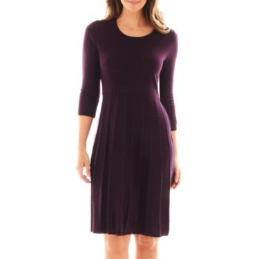 Black Label By Evan Picone 3Q Scoopneck Solid Sweater Dress