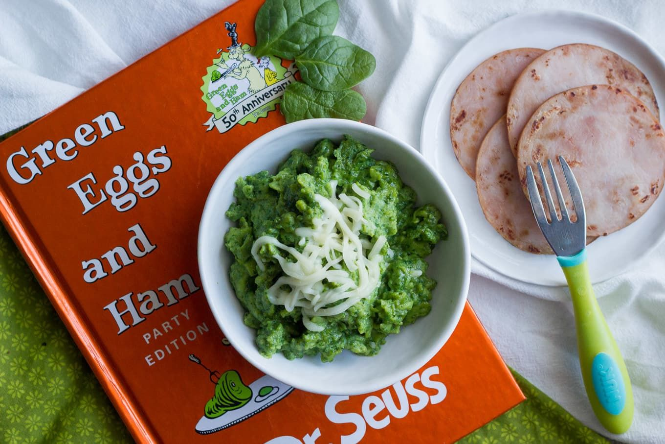 Green eggs and ham, 2 ways - Family Food on the Table #greeneggsandhamrecipe