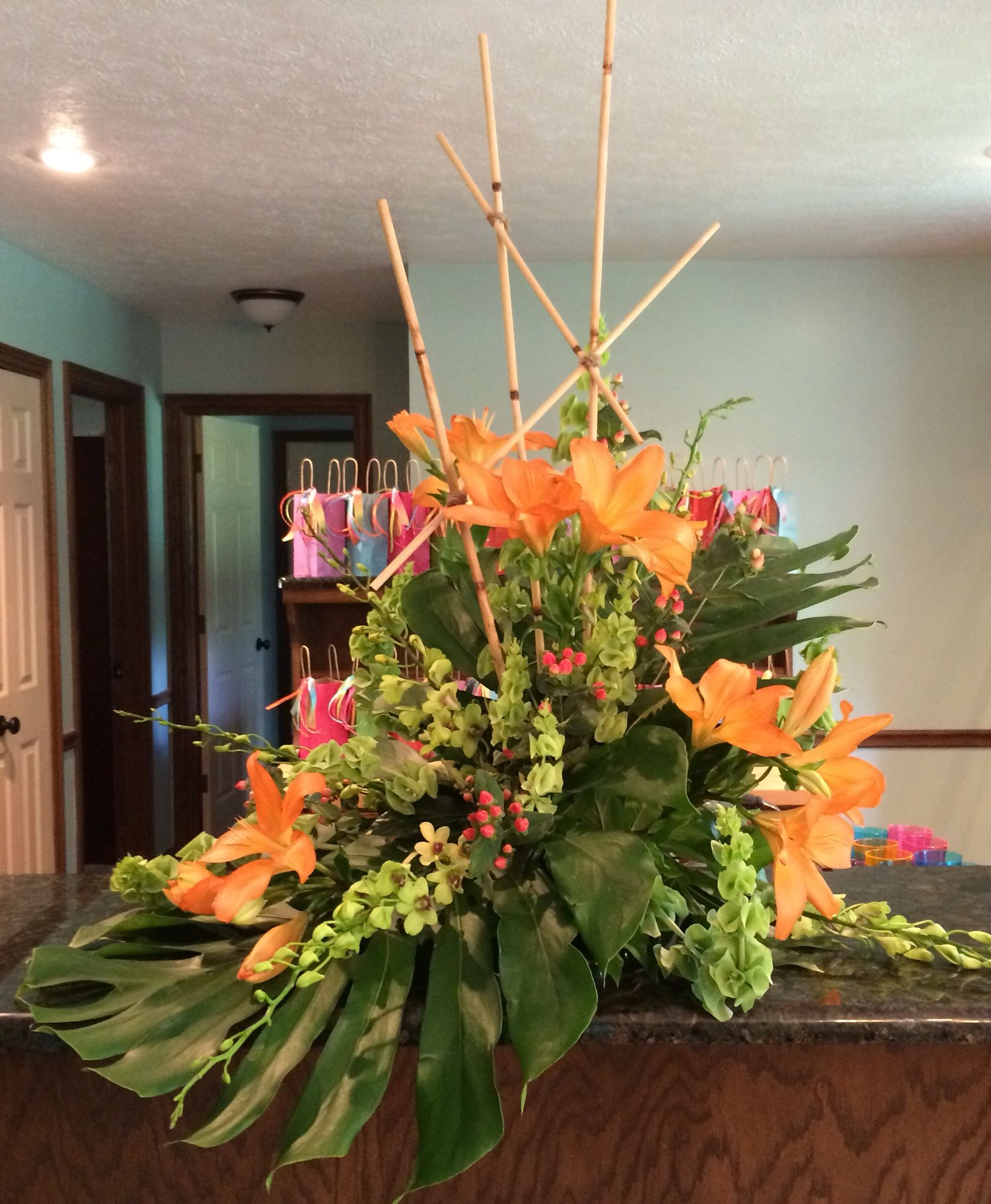 stunning floral display for rianes caribbean themed bridal shower savoir faire event planning did an excellent job as usual