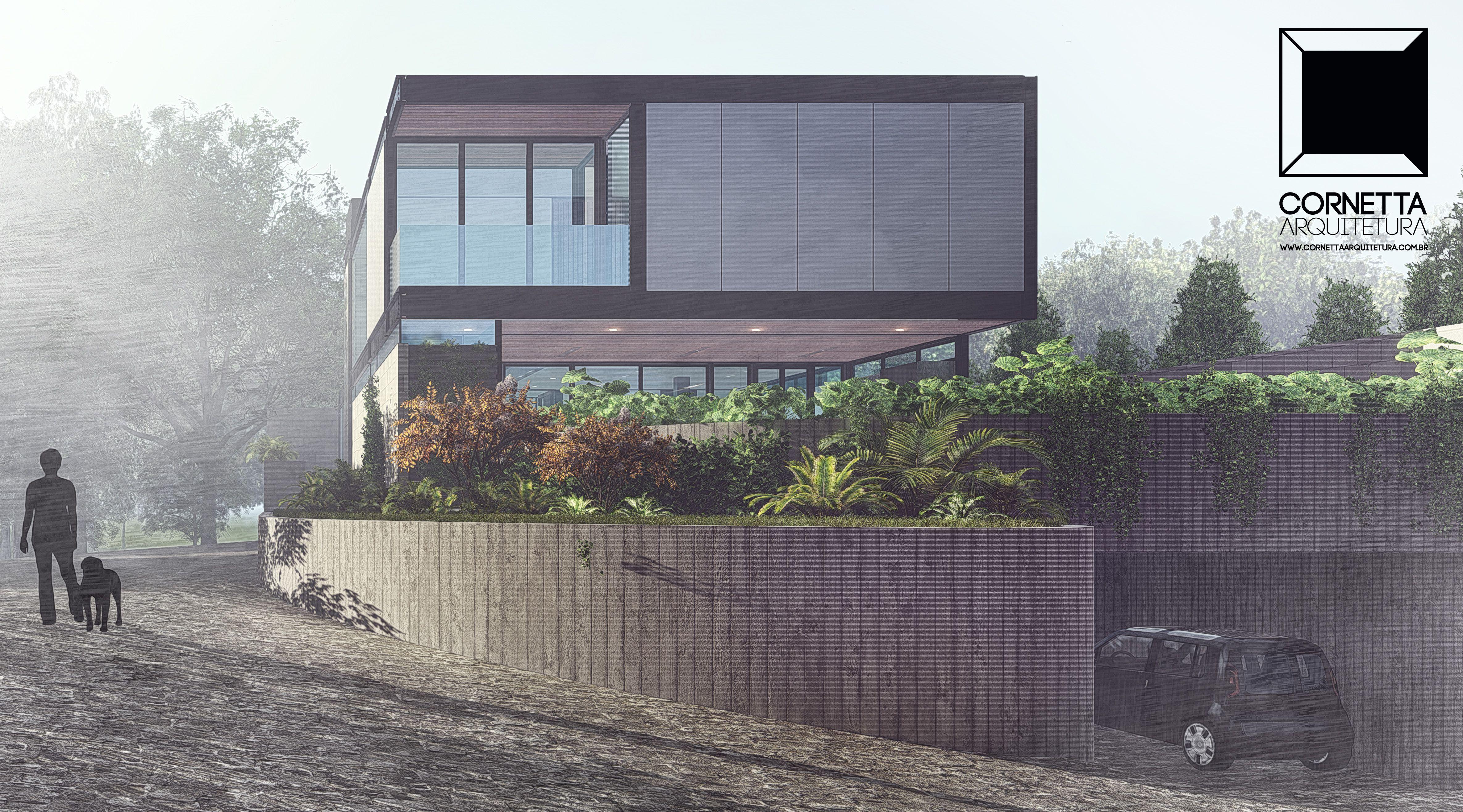 Estudo para casa em estrutura metálica. #cornetta #arquitetura #casasmodernas #estruturametalica #prefabricadas #loft