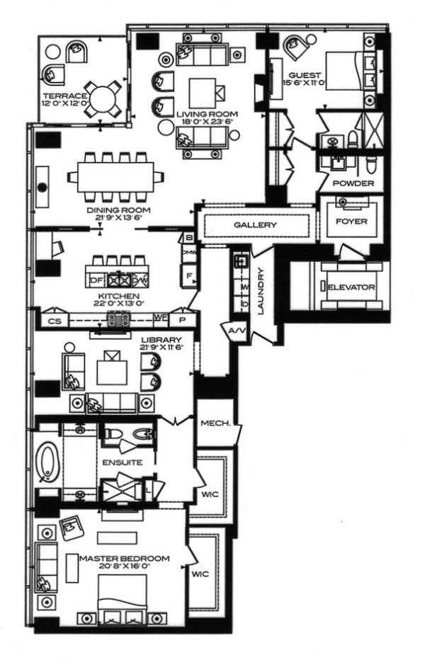 Four Seasons 50 Yorkville Ave Toronto Condos Floor Plans 2 Bedrooms Library 2874 Square Feet Residence D West Tower Floor Plans Condo Floor Plans How To Plan