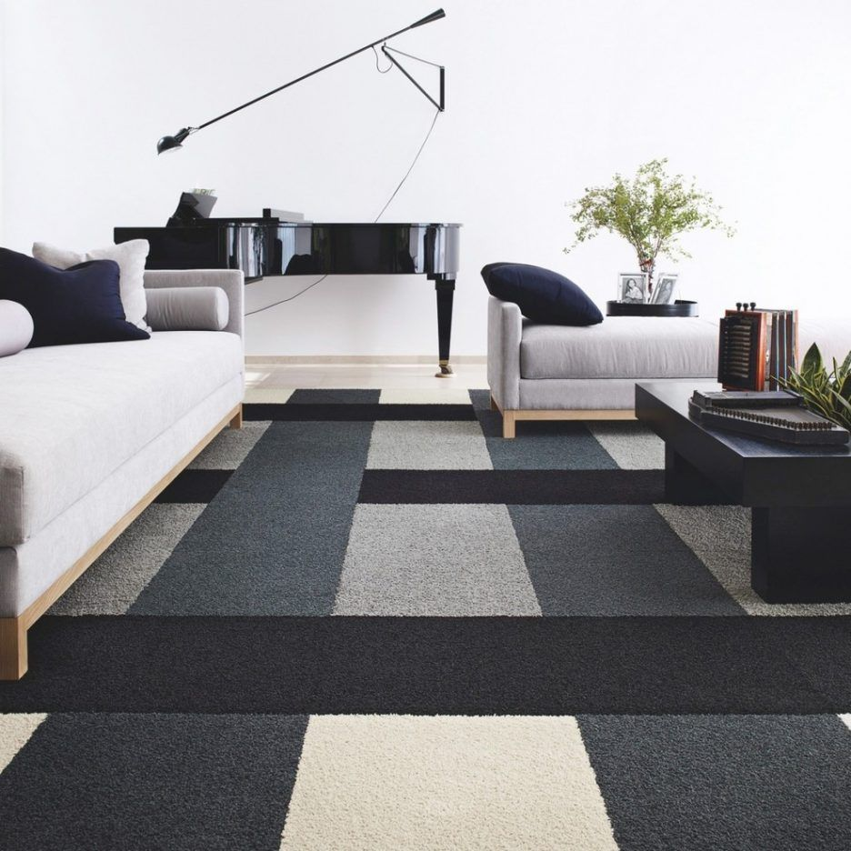 Living Room Awesome Living Room Carpet Decorating Ideas With Black White Wool Carpet Tile Pattern Also Black Woo Carpet Tiles Design Carpet Tiles Room Carpet