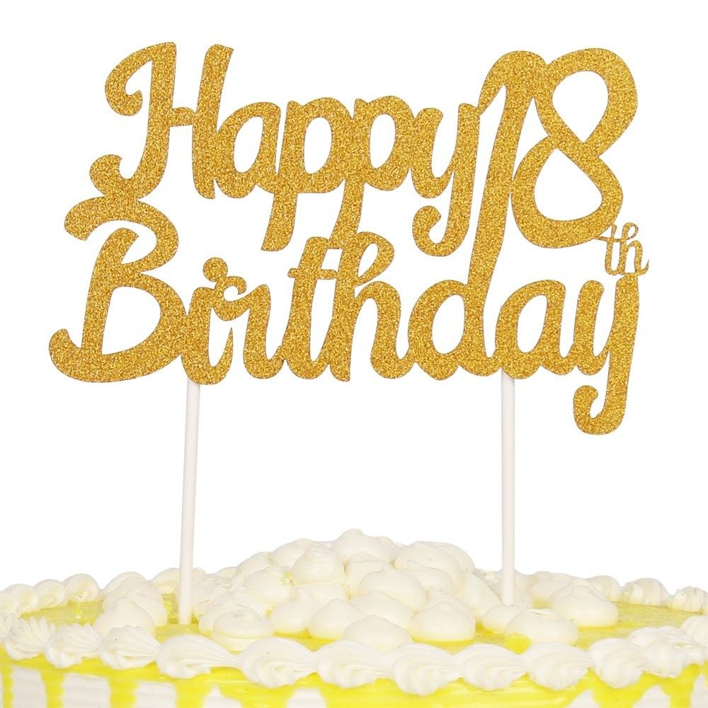 Single Sided Glitter Happy Birthday Cake Toppers Decorations Tool Party Supplies 18th Gold Cy1867d42oa Happy Birthday Cake Topper Birthday Cake Toppers Happy Birthday Cakes