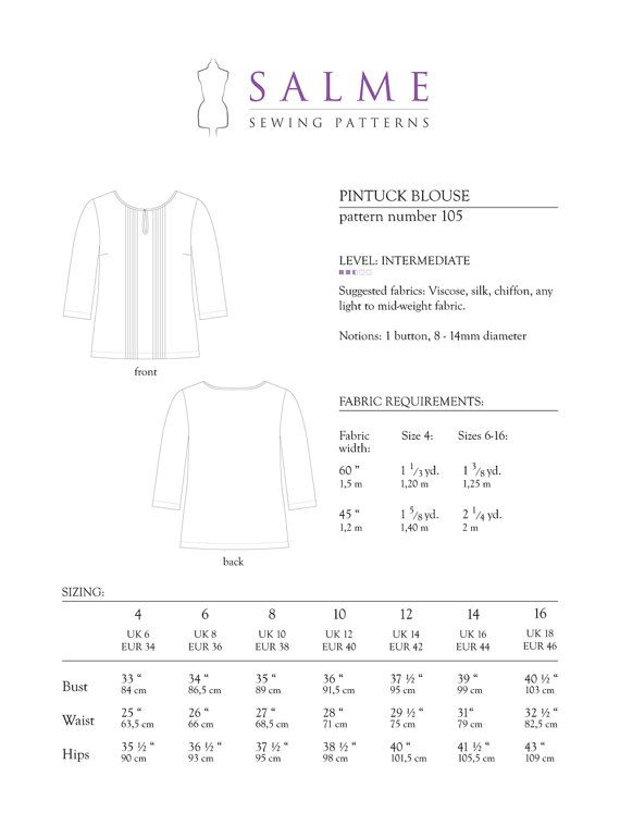 Pintuck Blouse PDF Sewing pattern by Salmepatterns on Etsy ...