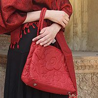 Novica Leather handbag, Red Romance