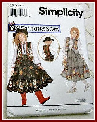 1994 Daisy Kingdom pattern small medium large Western Rodeo cowgirl simplicity girls dress vest peasant skirt