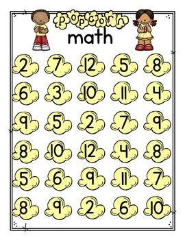 Popcorn Math Game Math Games Math Kindergarten Math