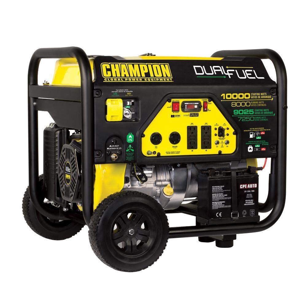 Champion Power Equipment 8000-Watt Dual Fuel Push-Button