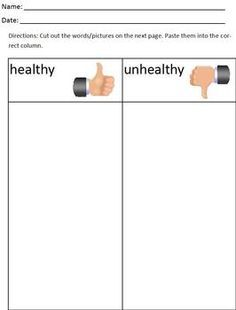 Healthy vs. Unhealthy cut and paste categorize/sort worksheet ...
