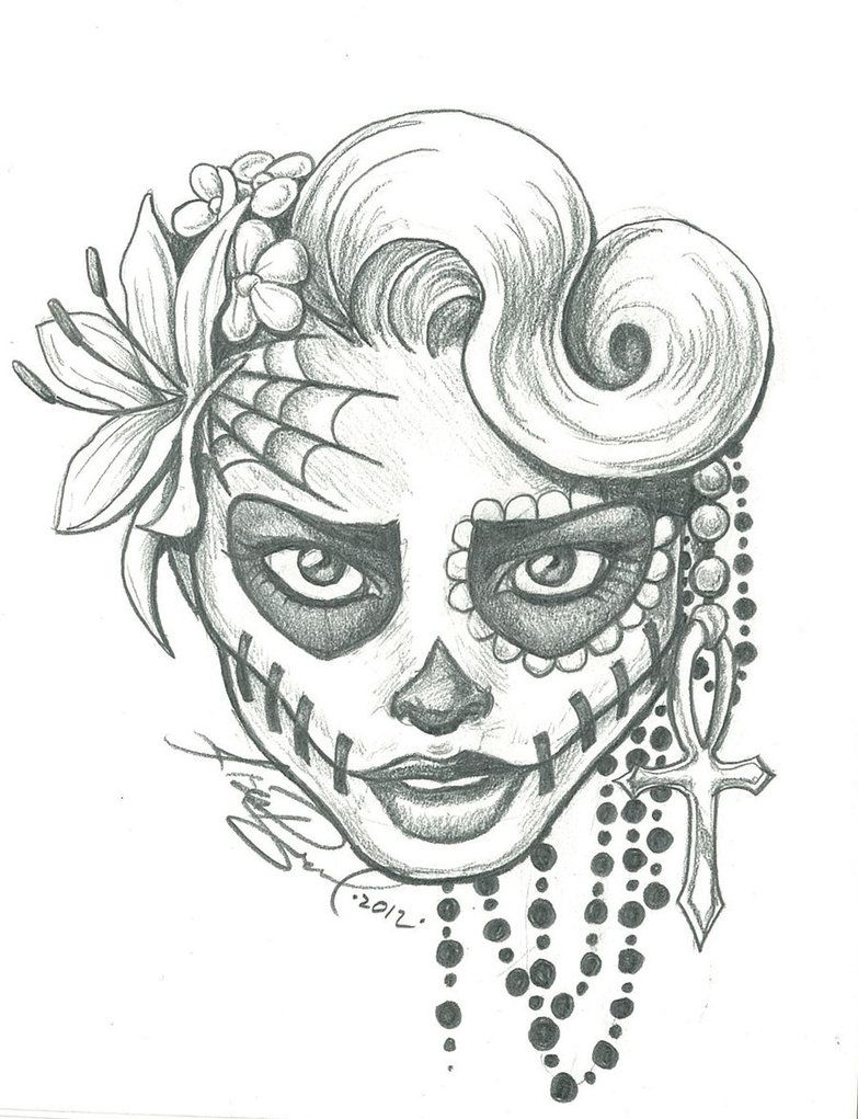 sugar skull lady drawing sugar skull two by leelab on deviantart