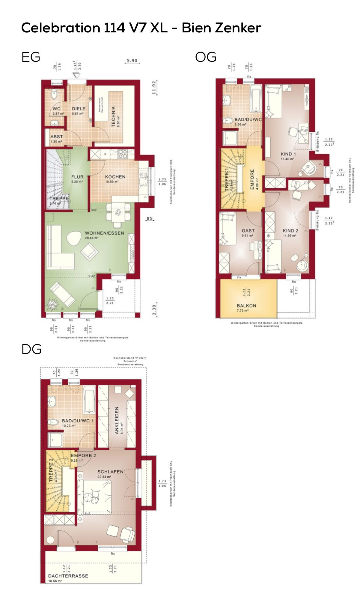 Doppelhaushälfte Grundriss schmal mit Pultdach Architektur